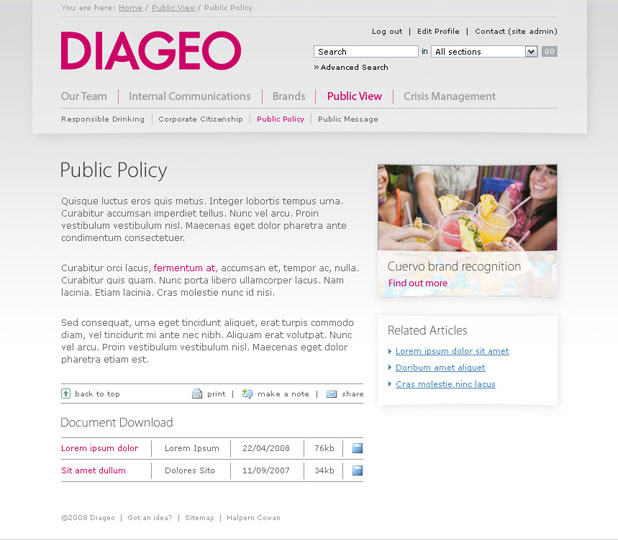 Diageo - Content Page
