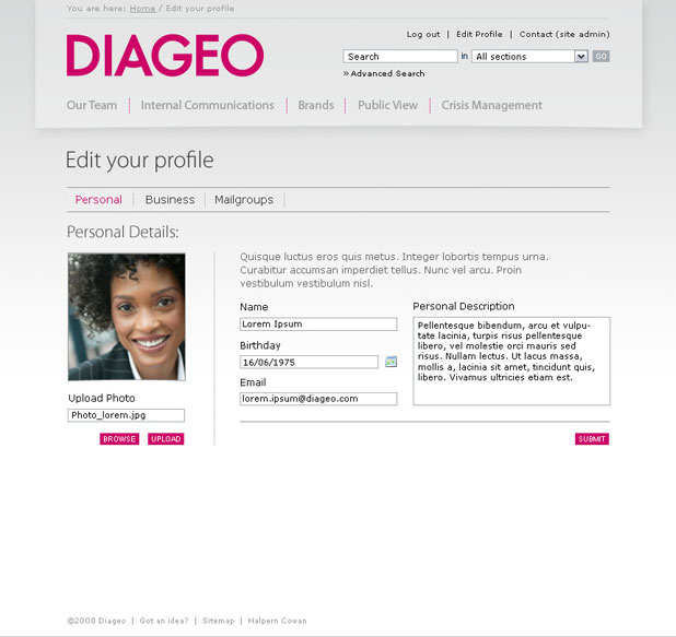 Diageo - Profile Page